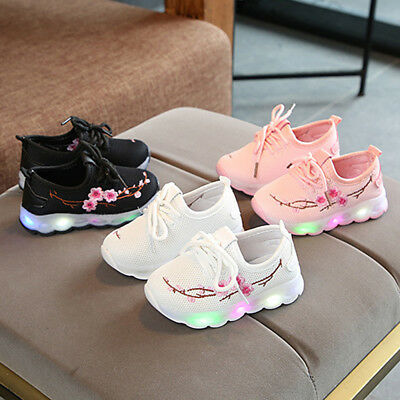 1 Pair Baby Boys Girls Embroidery Sport Running Shoes LED Luminous Mesh Shoes