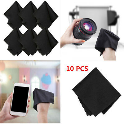 10PCS Premium Microfiber Black Cleaning Cloths For Lens Glasses Camera Screen