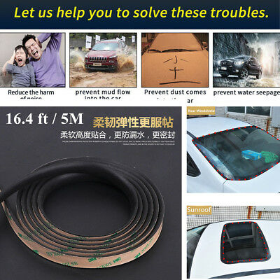EPDM Rubber Sealed Strips Seal Trim 16.4 ft Car Triangular Windshield Sunroof