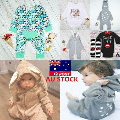 Infant Baby Kids Boy Long Sleeve Cotton Romper Jumpsuit Winter Clothes Outfits