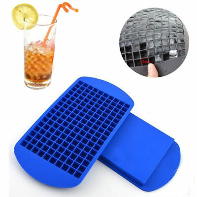 160 Grids Mini Ice Cube Tray Frozen Cubes Silicone Small DIY Ice Maker Mold Blue