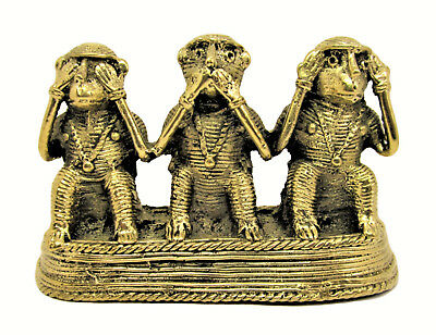 Handcrafted Metal Showpiece For Home Decor- Three Monkeys -Archaic & Fascinating