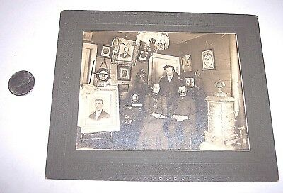 Old Family Photograph Of Family Pictures ,Lamp And Cast Iron Wood Stove