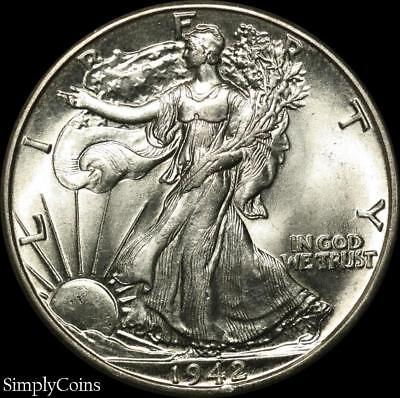 1942 Walking Liberty Silver Half Dollar ~ BU Uncirculated ~ SKU-1365