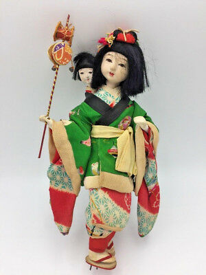 Antique JAPANESE Gofun Isho-Ningyo DOLL Nanny w/ Child Silk Kimono Glass Eyes 9""