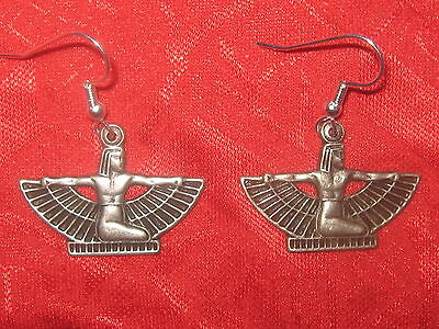 Usa Antique Silver Plated Egypt Egyptian Winged Isis Dangle Earrings