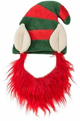 Elf Hat with Beard Red Costume for Pet Dog Wig Festival Party Fancy Hair Cat