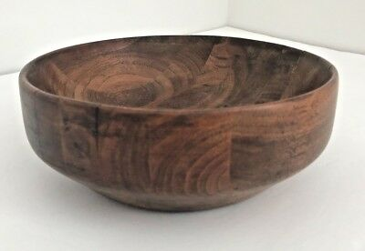 """Antique Vintage Dark Wood Inlayed Layered Bowl With Wood Nails Unique Country 8"""""""