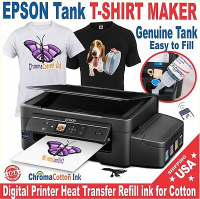 Epson Printer Super Tank T-Shirt Maker Cotton Ink Plus Heat Transfer Start Pack