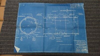 "(A131) Original 1918 Blueprint Drwg 19"" x 26"" - Shell for Main Condenser"