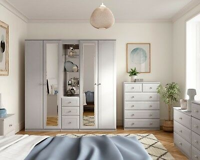 Boston White Wardrobe Chest Of Drawers Set Ready Assembled Bedroom Furniture UK