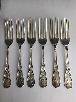 Sterling silver set of 6 Gorham forks, Hindostance