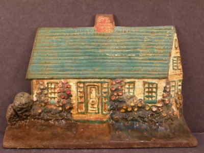 Antique Original Cast Iron Cottage Hollyhocks Cape Cod  House Log Cabin Doorstop