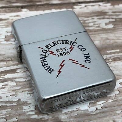 1952 Vintage Zippo Lighter - Buffalo Electric Co - Steel Case - Pat # 2032695