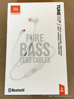 New Jbl T110Bt Tune110Bt Wireless In-Ear Headphones Pure Bass Color: White