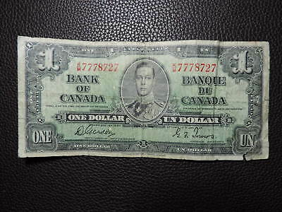 1937 $1 Dollar Bank Note Canada K/M7778727 Gordon Towers VG Grade Bill George VI