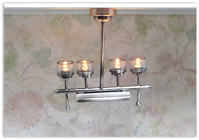 4 Light Platinum Chandelier #CL44S Dollhouse Miniature Battery Operated Lamp
