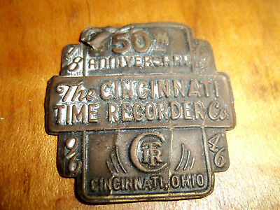 The Cincinnati Time Recorder Co. STAMPED BRASS PLATE MARKING 50TH ANNIVERSARY