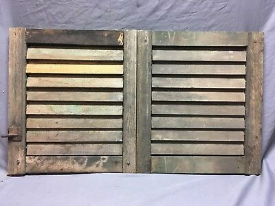 Small Pair Antique House Window Wood Louvered Shutters 15x17 Shabby Vtg    6-18C