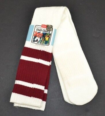 Vintage HANES Pro's Choice Orlon Striped Over the Calf Tube Socks Maroon/White