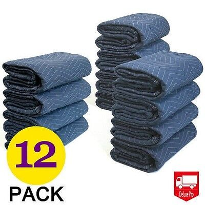 12 Moving Blankets Deluxe Pro 45lb Per Dozen Quilted Shipping Furniture Pads