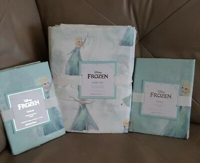 POTTERY BARN KIDS PBK DISNEY FROZEN Cotton SHEET SET Full Size + 2 Extra Shams