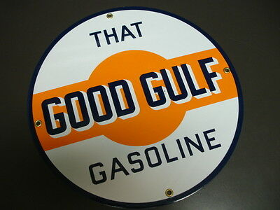 GOOD GULF GASOLINE Oil/Gas Porcelain Advertising sign