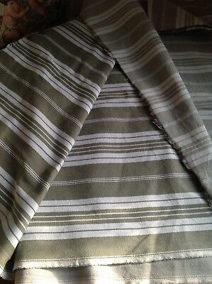 "Vintage Mattress Ticking French Cotton Fabric Khaki & Cream Herringbone 96""x54"""