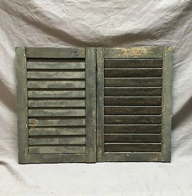 Small Pair Antique House Window Wood Louvered Shutters 14x21 Shabby Vtg    9-18C
