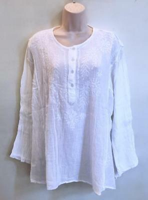 2421f0c40a Hippie Bohemian Gypsy Festival India Embroidered Funky Kurta Top White