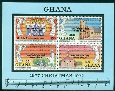 Ghana Scott #644 MNH S/S OVPT Referendum on Christmas 1977 MUSIC CV$35+