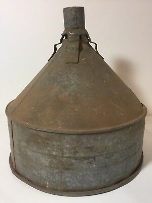 "VTG Galvanized Tin Metal Large Farm Funnel 10"" Tall Openings 1 1/4"" & 10"""
