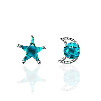 925 Sterling Silver Dazzling Blue Zircon Star And Moon Couple Stud Earrings