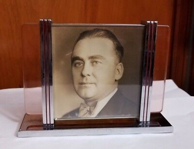 Antique Art Deco Glass and Chrome Picture Frame Silver Red Stripes vintage cool