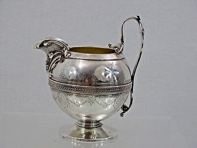RARE MEDALLION PATTERN ANTIQUE GORHAM STERLING SILVER CREAMER 1871 Fine quality