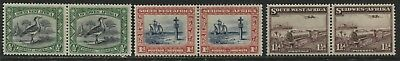 South West Africa 1931-37 1/2d, 1d. and 1 1/2d pairs mint o.g.