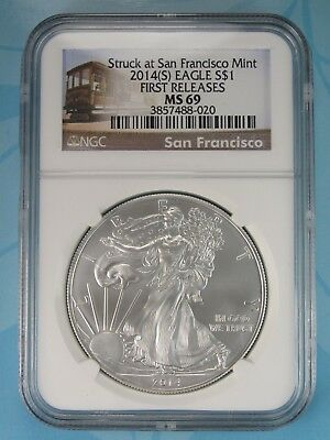 2014 (S) Ngc Ms69 Silver Eagle Struck At San Francisco First Releases Rare Label