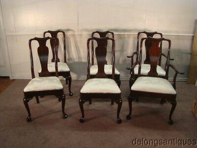 50327:Stickley Set of 6 Solid Mahogany Queen Anne Dining Chairs