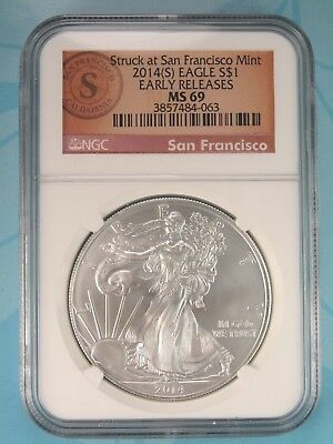2014 (S) Ngc Ms69 Silver Eagle Struck At San Francisco Early Releases Rare Label