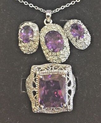 Vintage Silver Tone Amethyst Crystal Necklace Pendant Earrings Ring Set