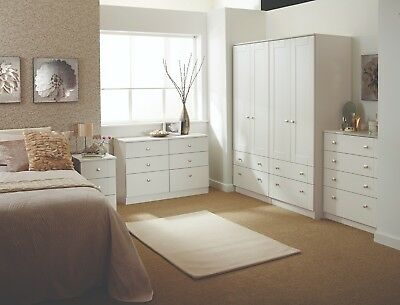 Albany White Wardrobe Chest Of Drawers Set Ready Assembled Bedroom Furniture UK