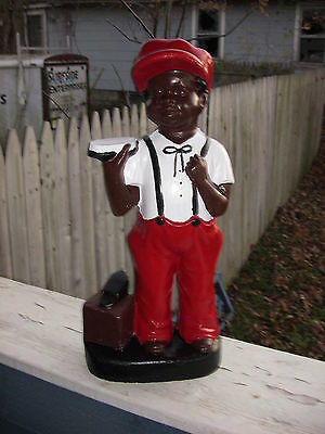 Concrete  Black Shoeshine Boy Statue.....(Lawn Jockey Cousin)  Art. Clear Coated