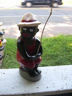 Black Fishing Boy Boyz Cement  Statue..(Lawn Jockey Dude) Yard Sale .radical Red