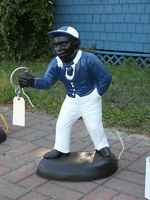 New..black Lawn Jockey Statue Midnite Blue  Concrete ..free Ship..best  On .ebay