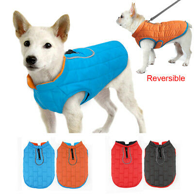 Small Large Dog Coat Winter Waterproof Clothes for Dogs Reversible Jacket Vest