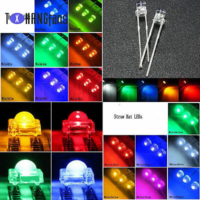 3-10mm Round/Straw Hat/Flat Top/Piranha LED Emitting Diodes Water 8Color DIY ATF
