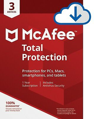 McAfee Total Protection 2020 Antivirus for Windows - 3 PC, 1 Year  INSTANT EMAIL