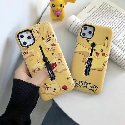 Cartoon Pokemon pikachu Bracket Holder case Cover for iPhone Xs Max 8 7 6S Plus