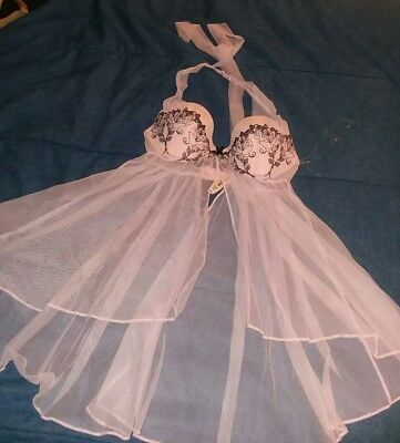 Victoria's Secret Lingerie Babydoll pink Lace open front sheer Bow size 36B
