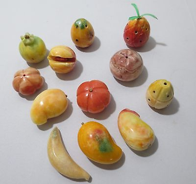 Vtg 12 pc ALABASTER MARBLE Italian Carved STONE FRUIT  Mango Pineapples Peach